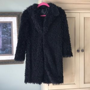 NWOT Black Furry Coat